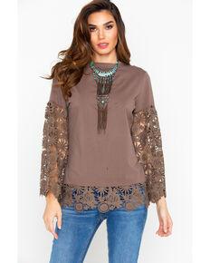 Angel Premium Women's Hope Crochet Top , Brown, hi-res