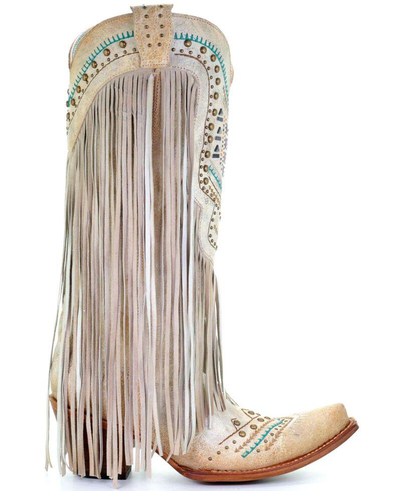 1c0699cd6ca Corral Women's Bone Swarovski Pattern Fringe Wedding Boots - Snip Toe
