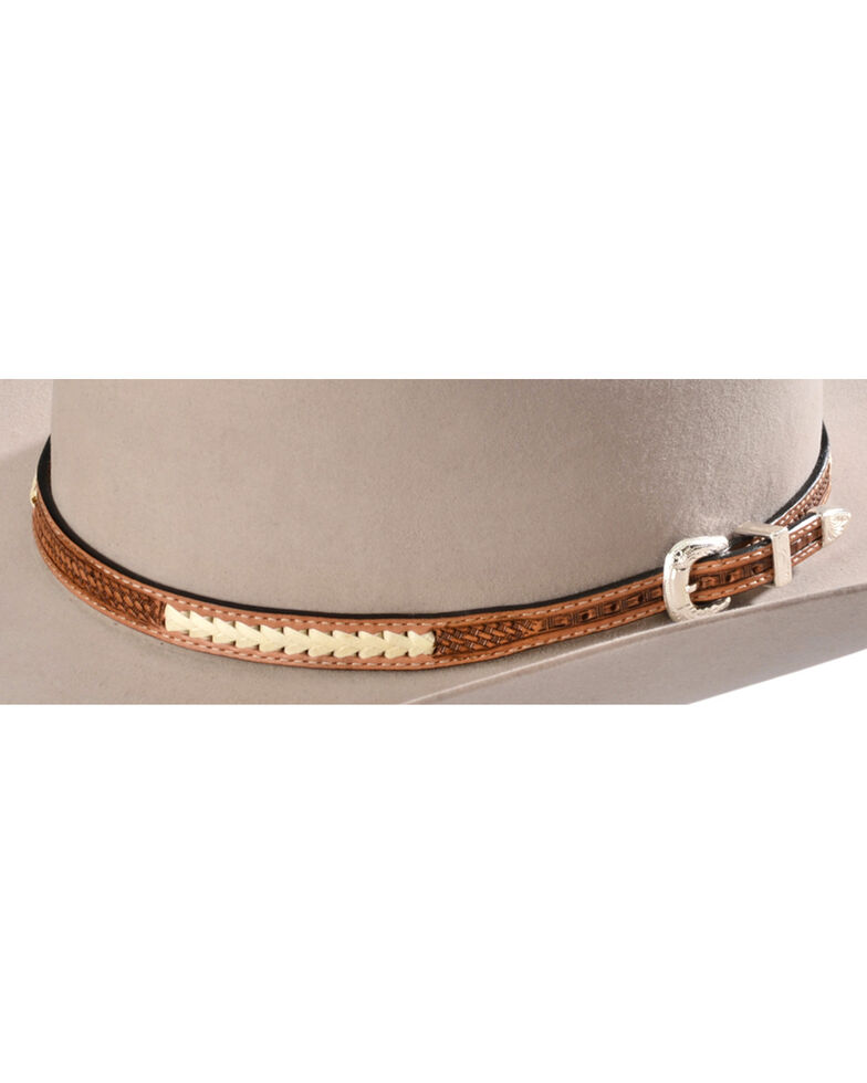Stitched Basketweave Leather Hat Band, Natural, hi-res