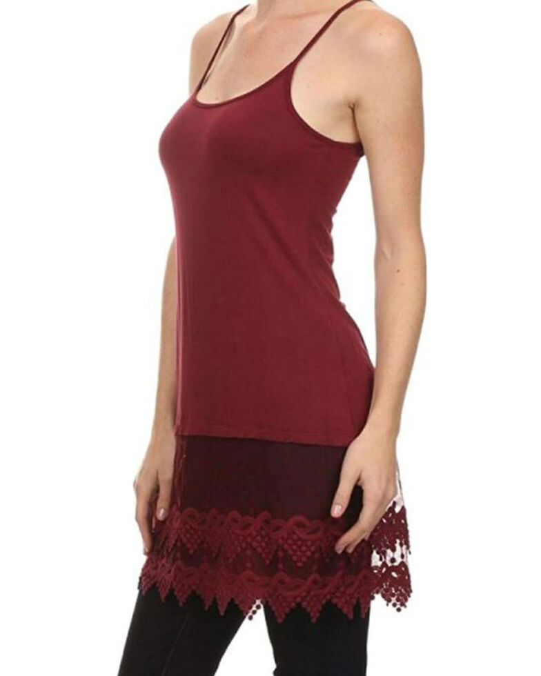 Origami Women's Solid Lace Hem Tank, Burgundy, hi-res