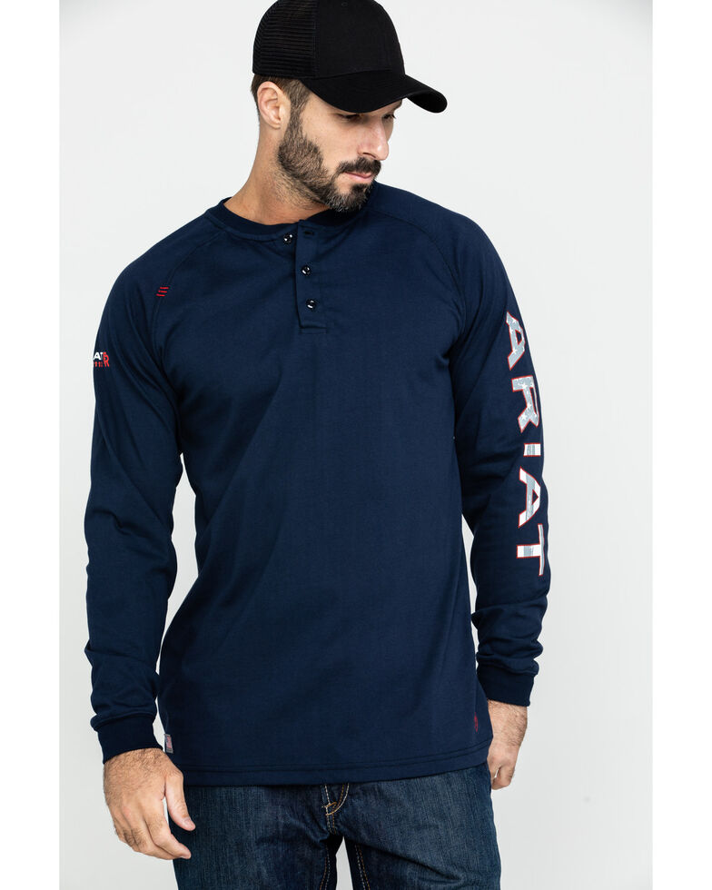 Ariat Men's FR Liberty Logo Long Sleeve Work Shirt , Navy, hi-res