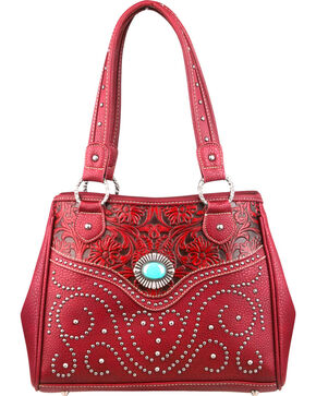Montana West Trinity Ranch Tooled Design Handbag, Burgundy, hi-res