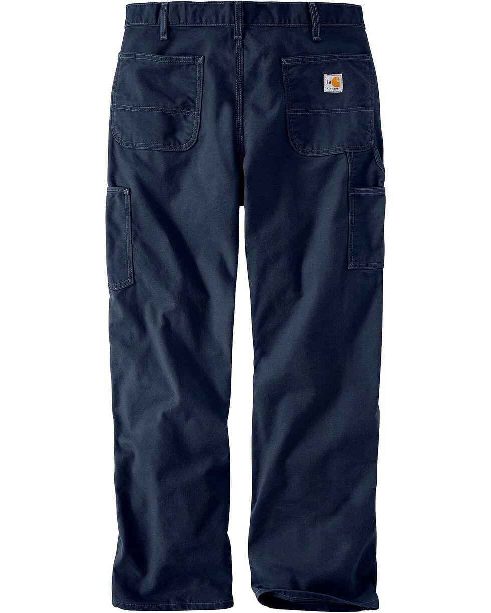Carhartt Flame Resistant Washed Duck Work Pants, Navy, hi-res