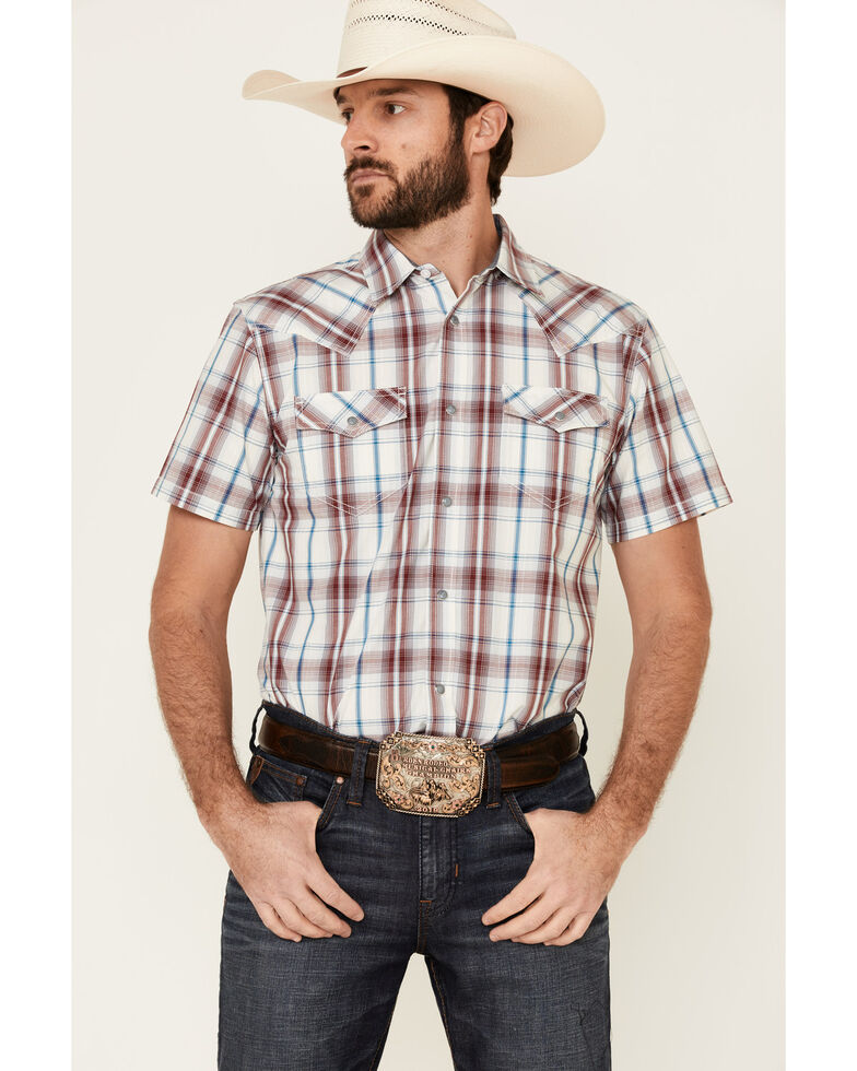 Cody James Men's Barrier Large Plaid Short Sleeve Snap Western Shirt , Burgundy, hi-res