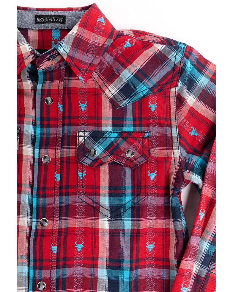 Cody James Toddler Boys' Bull Dobby Plaid Long Sleeve Western Shirt , Red, hi-res