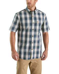 Carharrt Men's Grey Essential Plaid BDC Short Sleeve Work Shirt, Grey, hi-res