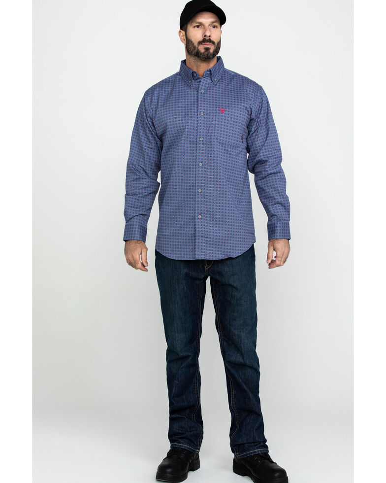 Ariat Men's Maverick FR Geo Print Long Sleeve Work Shirt  , Green, hi-res