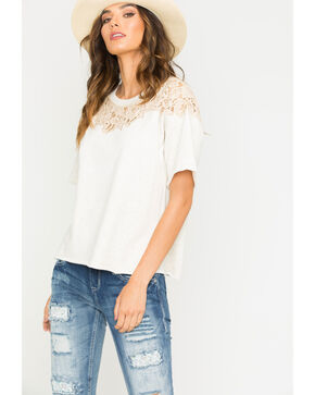 Hyku Women's Natural Lace Applique Terri Top , Natural, hi-res