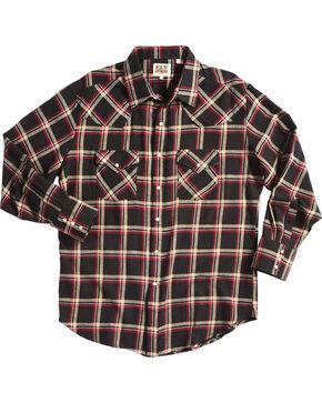 Ely Cattleman Men's Plaid Flannel Western Shirt - Big & Tall, Black, hi-res