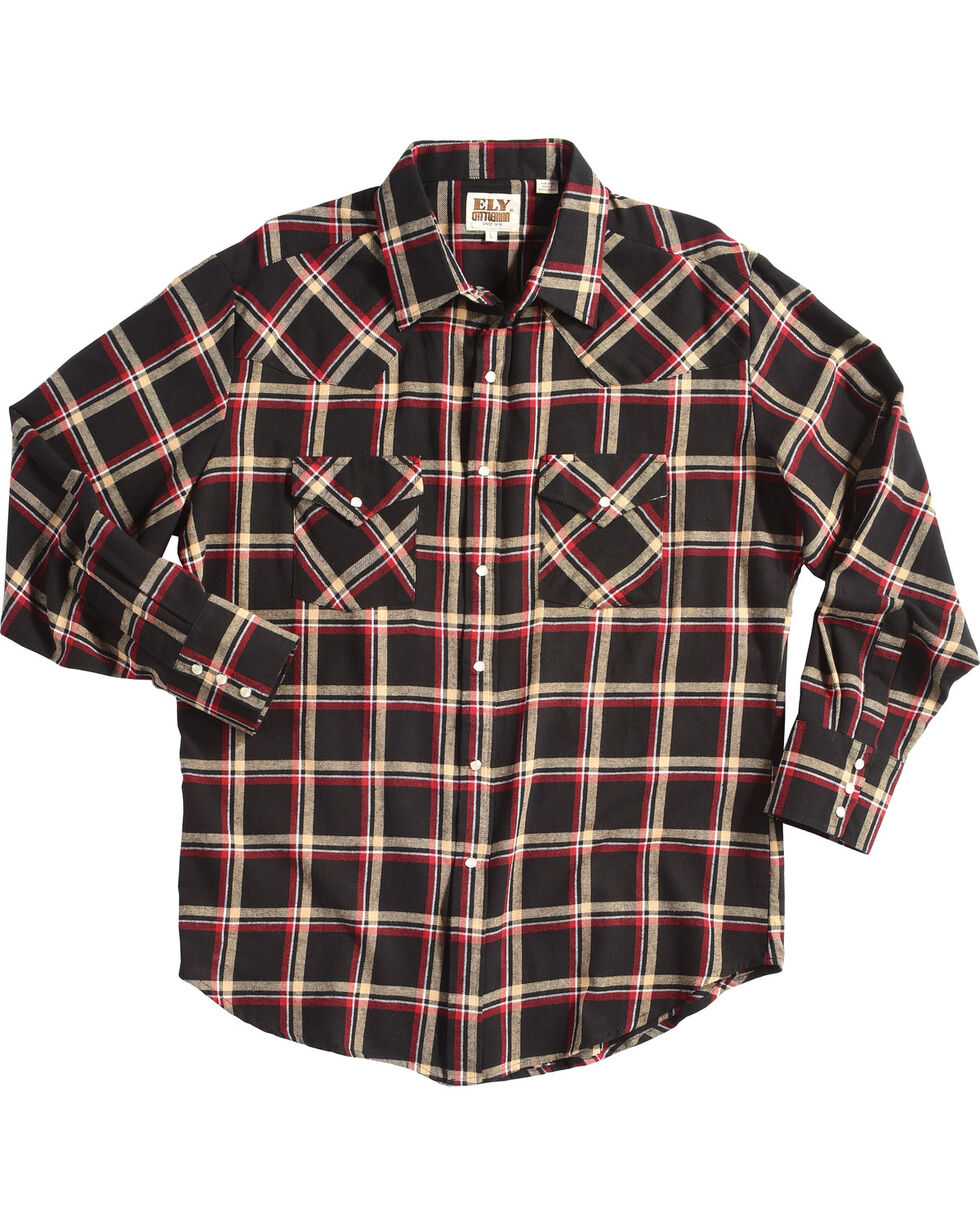 Ely Cattleman Men's Black Western Flannel Shirt - Tall , Black, hi-res