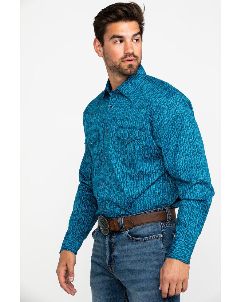 Wrangler 20X Men's Advanced Comfort Dark Blue Print Long Sleeve Western Shirt , Blue, hi-res