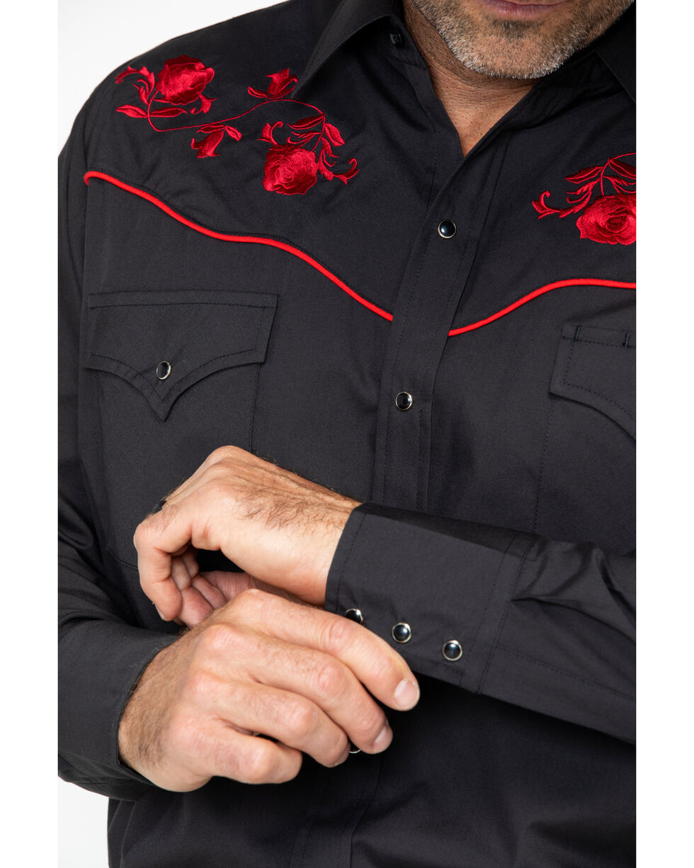 Ely Cattleman Men's Solid Retro Embroidered Long Sleeve Shirt  , Black, hi-res
