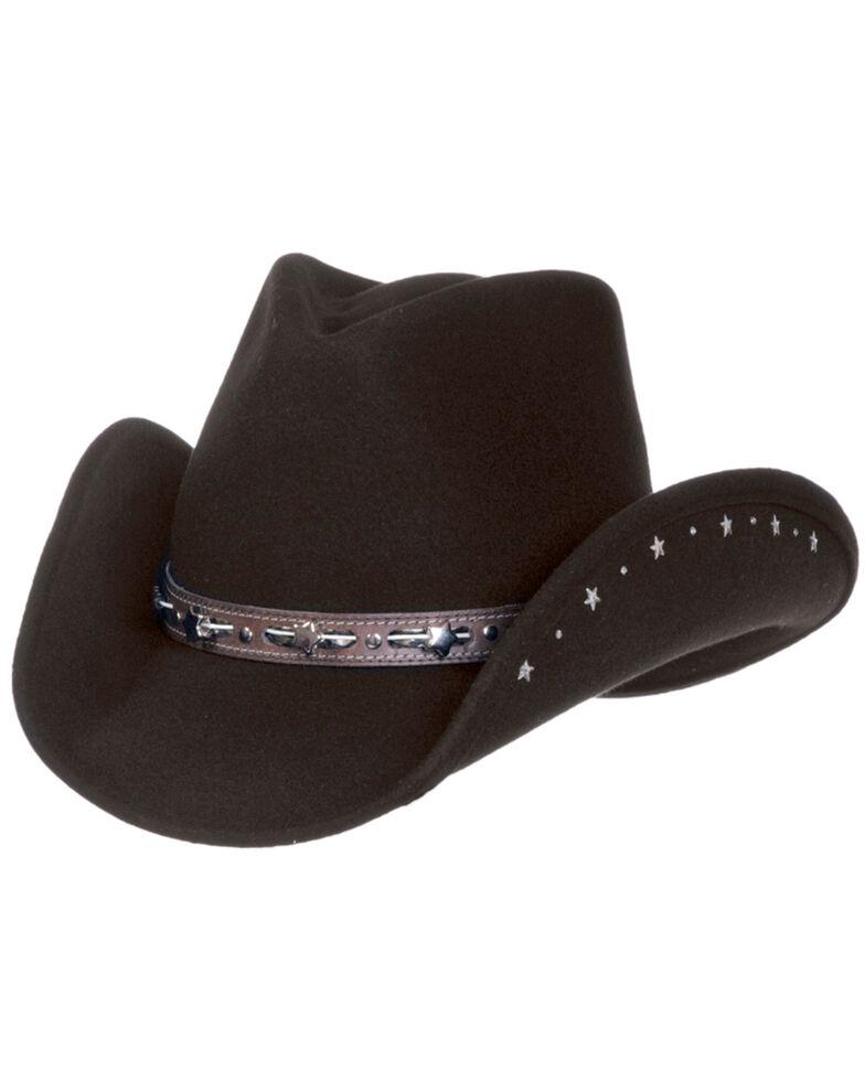 Master Hatters Women's Black Star Crushable Fashion Wool Hat, Black, hi-res