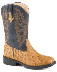 Roper Boys' Cowboy Cool Faux Ostrich Cowboy Boots - Square Toe, Tan, hi-res