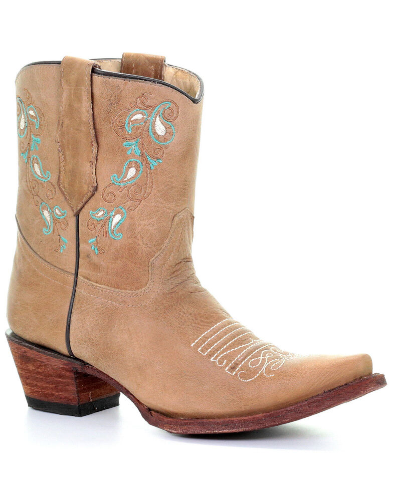 Corral Women's Turquoise Embroidery Western Boots - Snip Toe, Sand, hi-res