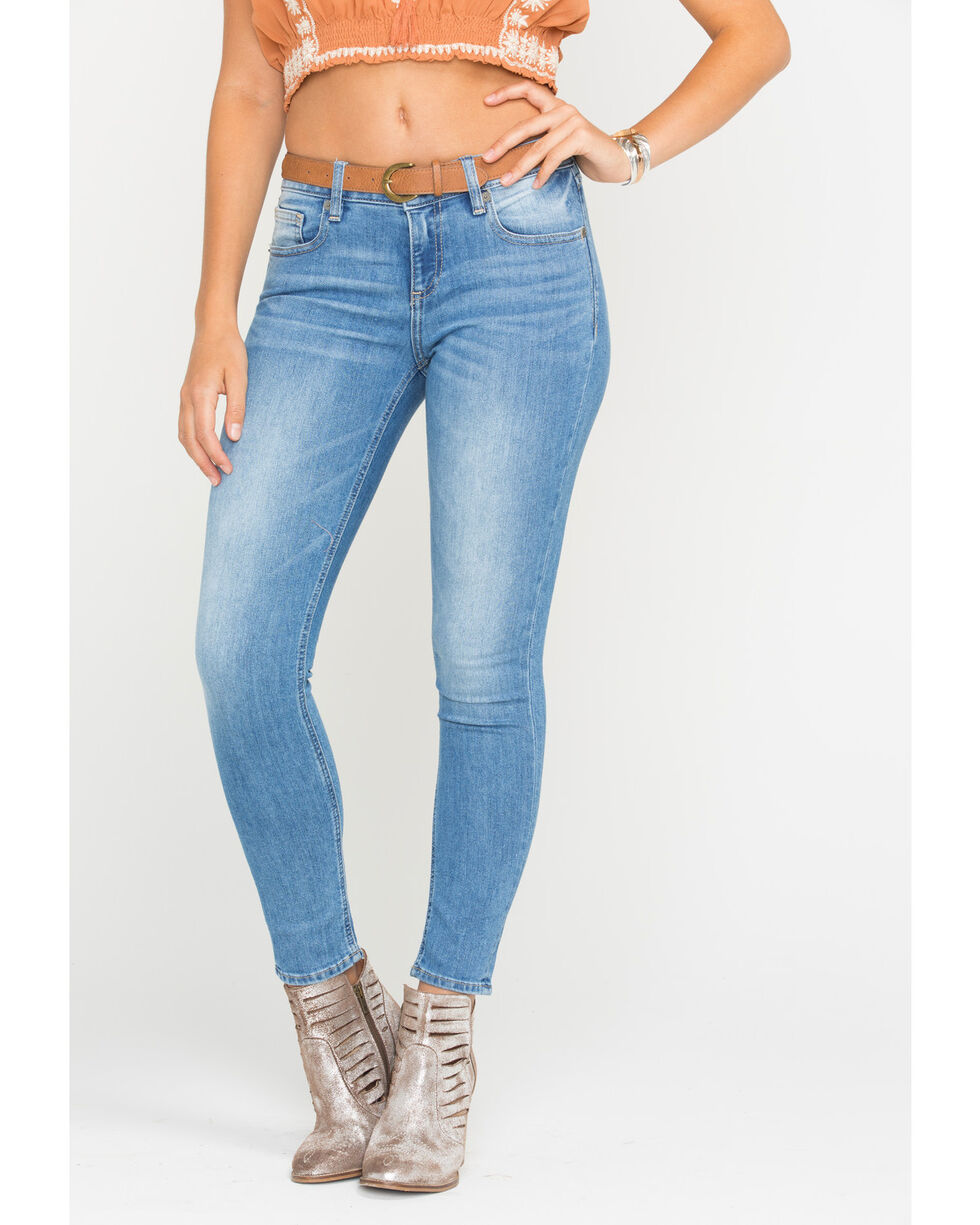 Miss Me Women's Float Like A Butterfly Mid-Rise Ankle Skinny Jeans, Indigo, hi-res