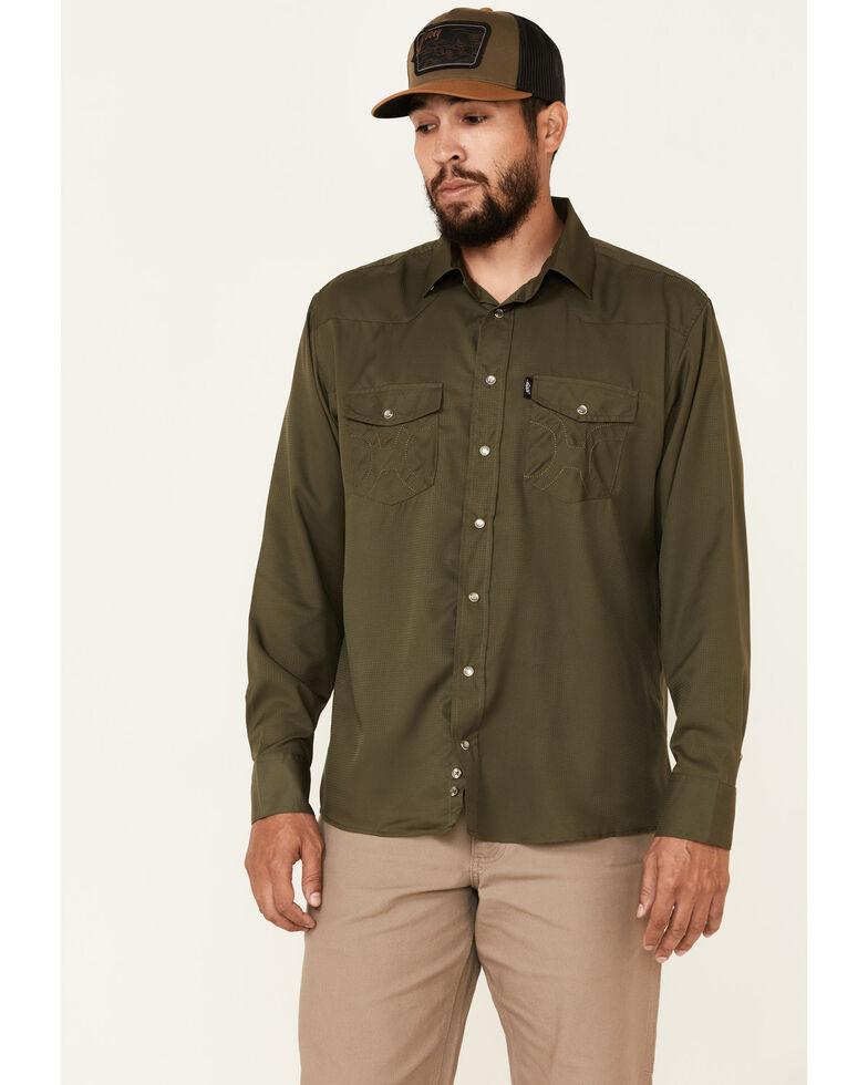 HOOey Men's Solid Olive Habitat Sol Long Sleeve Snap Western Shirt , Olive, hi-res