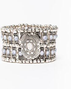 Shyanne Women's White Falls Studded Multi Row Concho Stretch Bracelet , Silver, hi-res