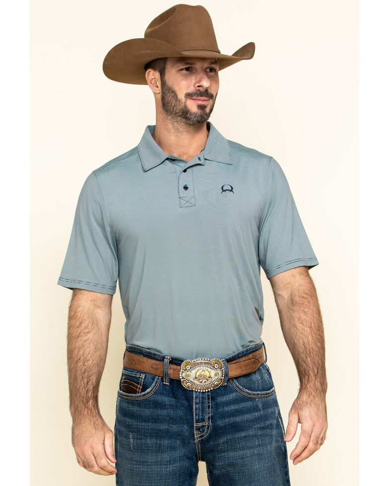Cinch Men's Arena Flex Light Blue Striped Short Sleeve Polo Shirt , Light Blue, hi-res