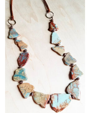 Jewelry Junkie Women's Aqua Terra Slab Necklace , Multi, hi-res