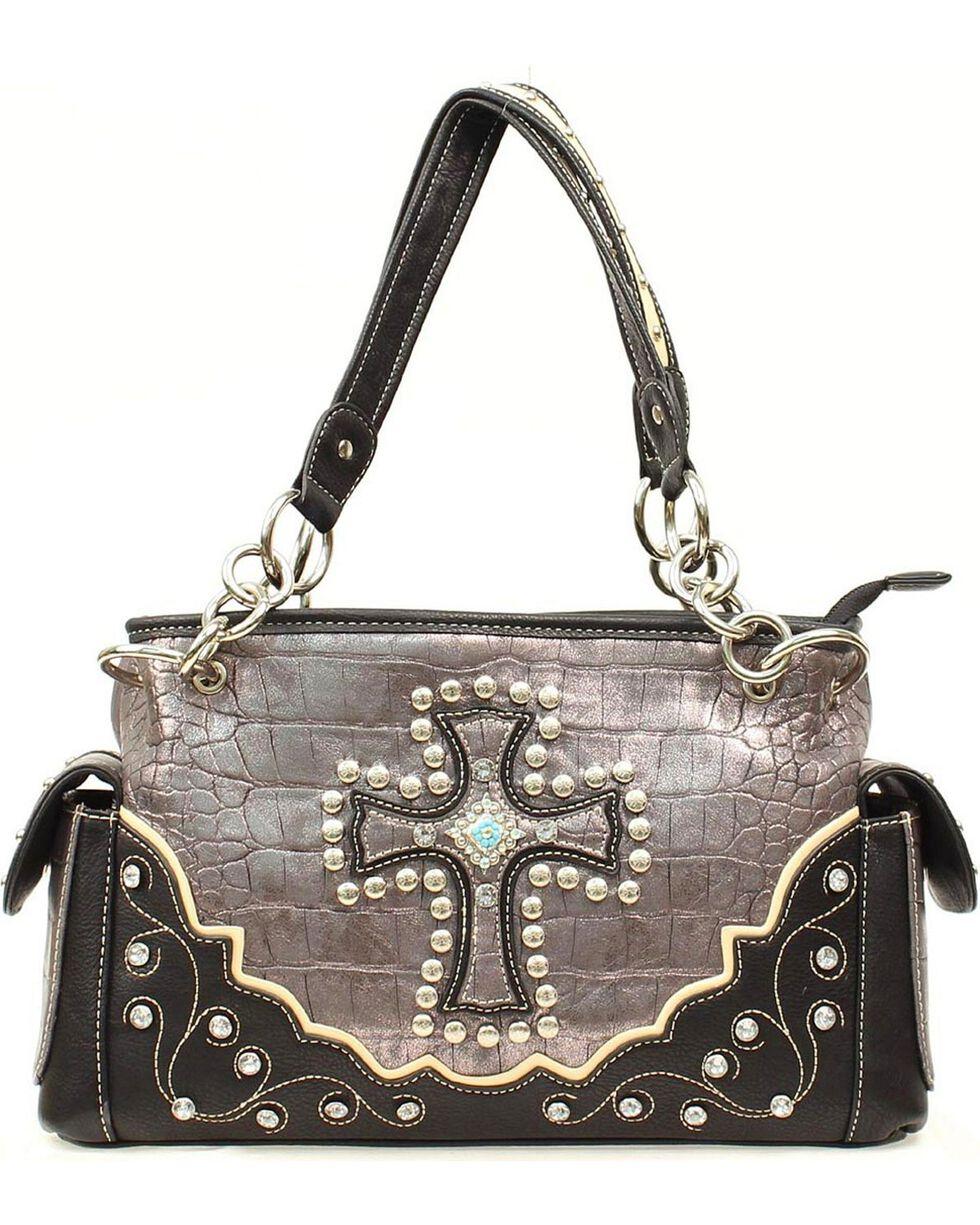 Blazin' Roxx Women's Faux Gator Skin Cross Overlay Handbag, , hi-res