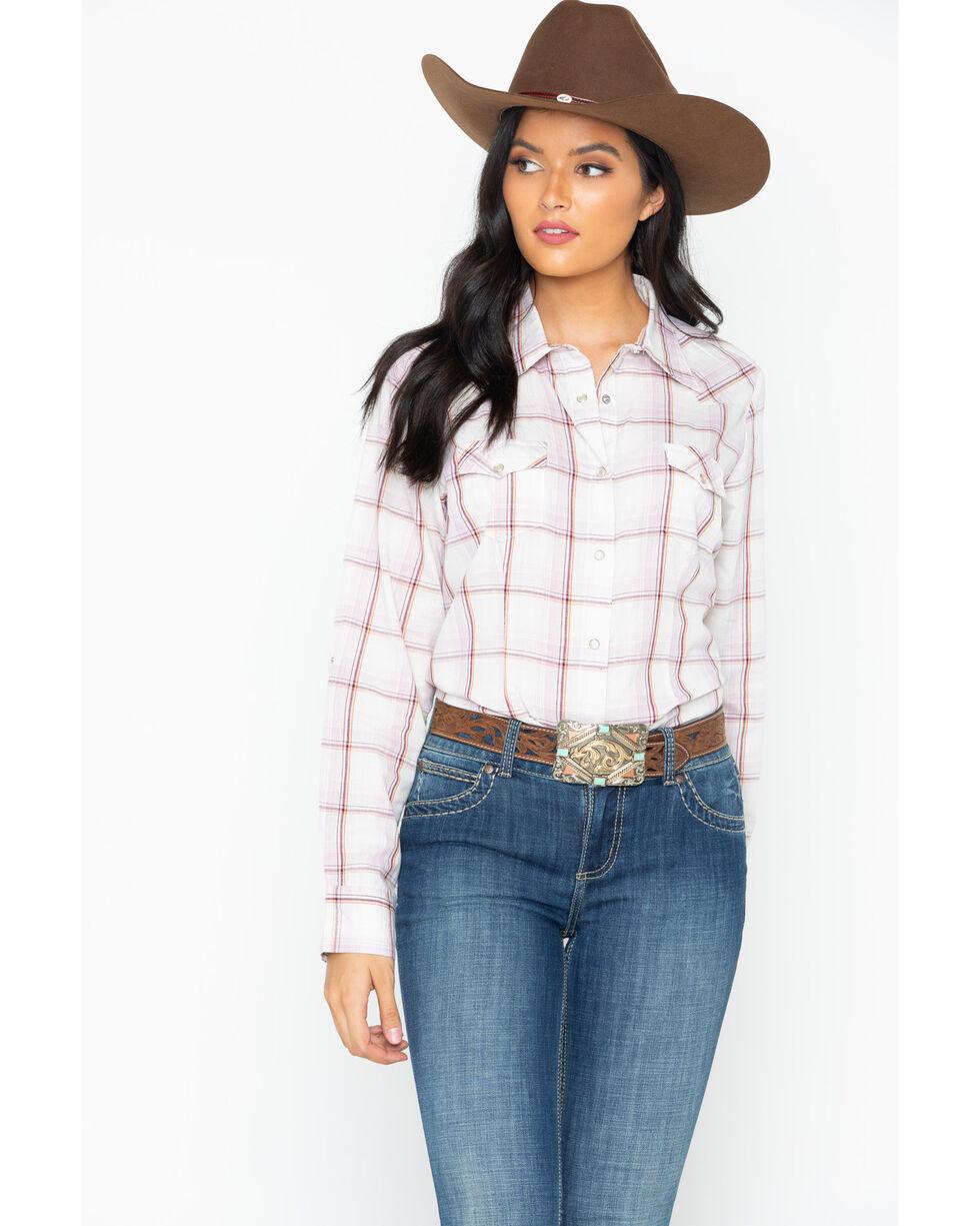 As Real As Wrangler Women's Plaid Snap Long Sleeve Western Shirt, , hi-res
