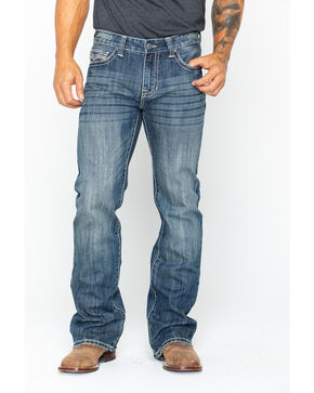 Rock and Roll Cowboy Men's Pistol Bootcut Jeans , Blue, hi-res