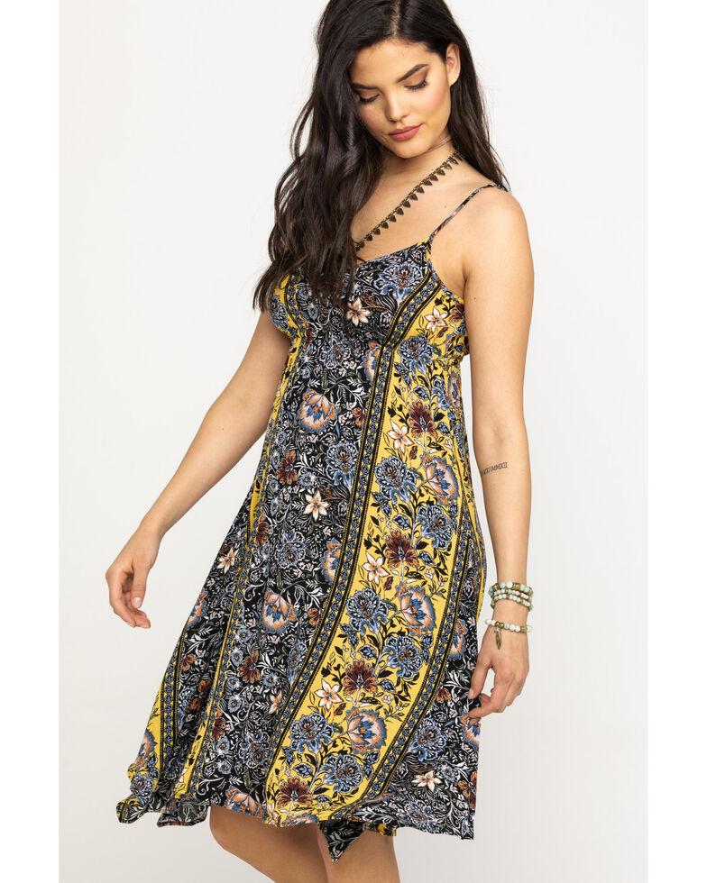 Shyanne Women's Mustard Floral Print Midi Dress, Dark Yellow, hi-res