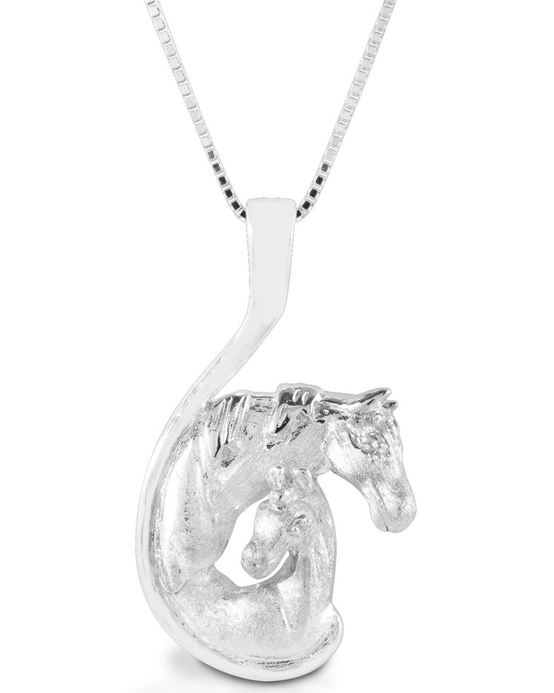 Kelly Herd Women's Mare & Foal Head Necklace, Silver, hi-res