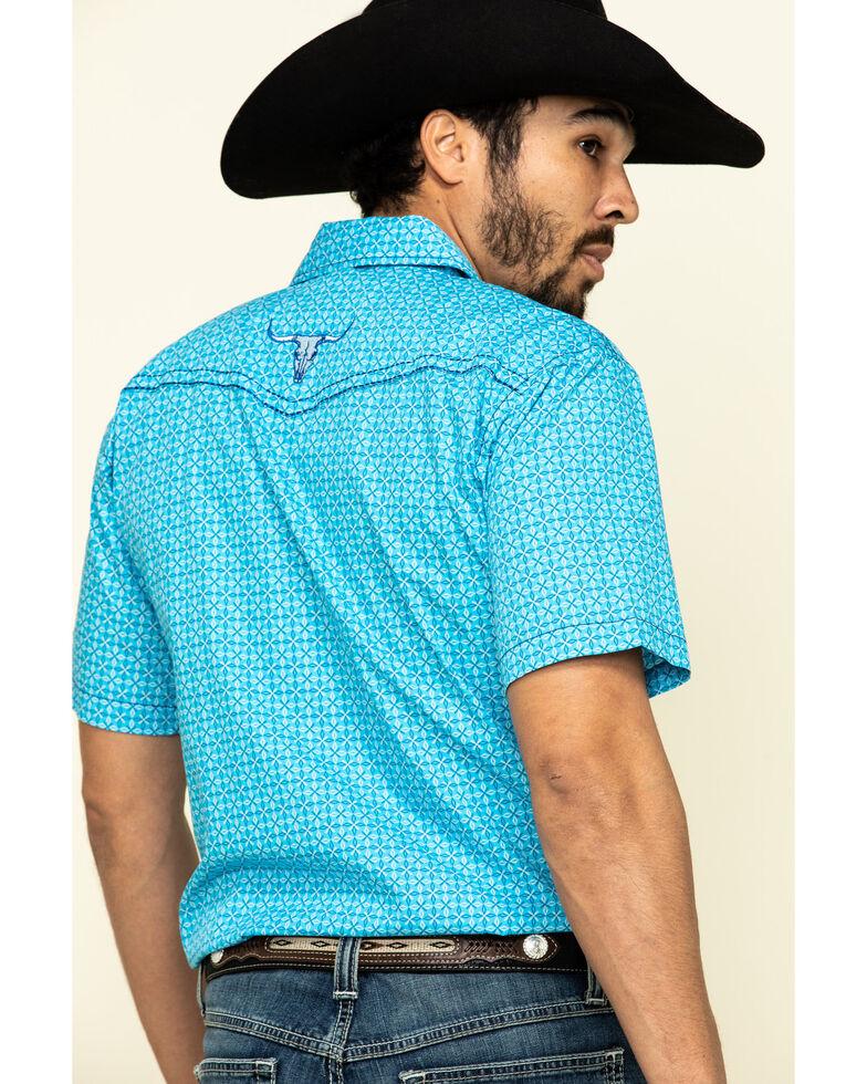 Cowboy Hardware Men's Blue Snowflake Geo Print Short Sleeve Western Shirt , Blue, hi-res