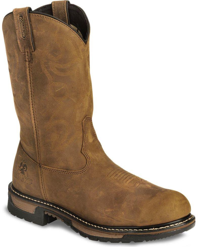 Rocky Men's Branson Saddle Steel Toe Roper Work Boots, Crazyhorse, hi-res