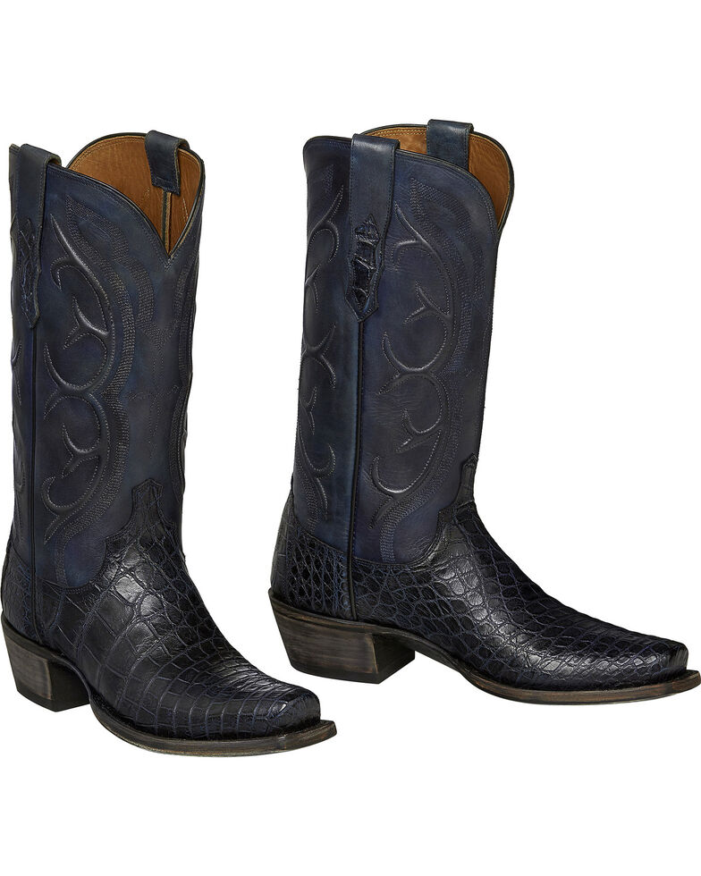 Lucchese Handmade Dark Grey Van Giant Gator Cowboy Boots - Snip Toe  , , hi-res