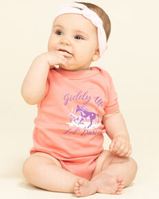 Shyanne Infant Girls' Coral Giddy Up Lil' Darlin' Knit PJ Set, Coral, hi-res