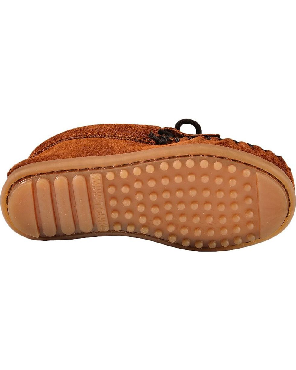 Kids' Minnetonka Thunderbird II Beaded Moccasins, Brown, hi-res