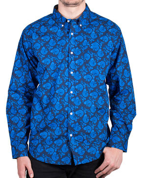 Cody James® Men's Paisley Printed Long Sleeve Shirt, Blue, hi-res