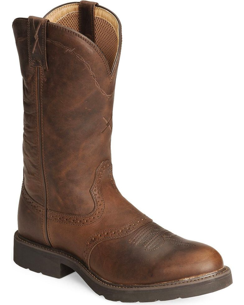 Twisted X Men's Pebble Glazed Pull-On Work Boots, Brown, hi-res