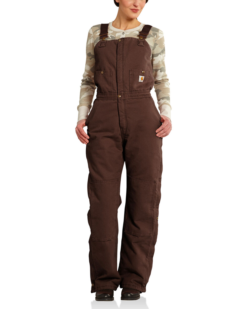Carhartt Women's Quilted Lined Double Knee Zeeland Bib Overalls, Brown, hi-res
