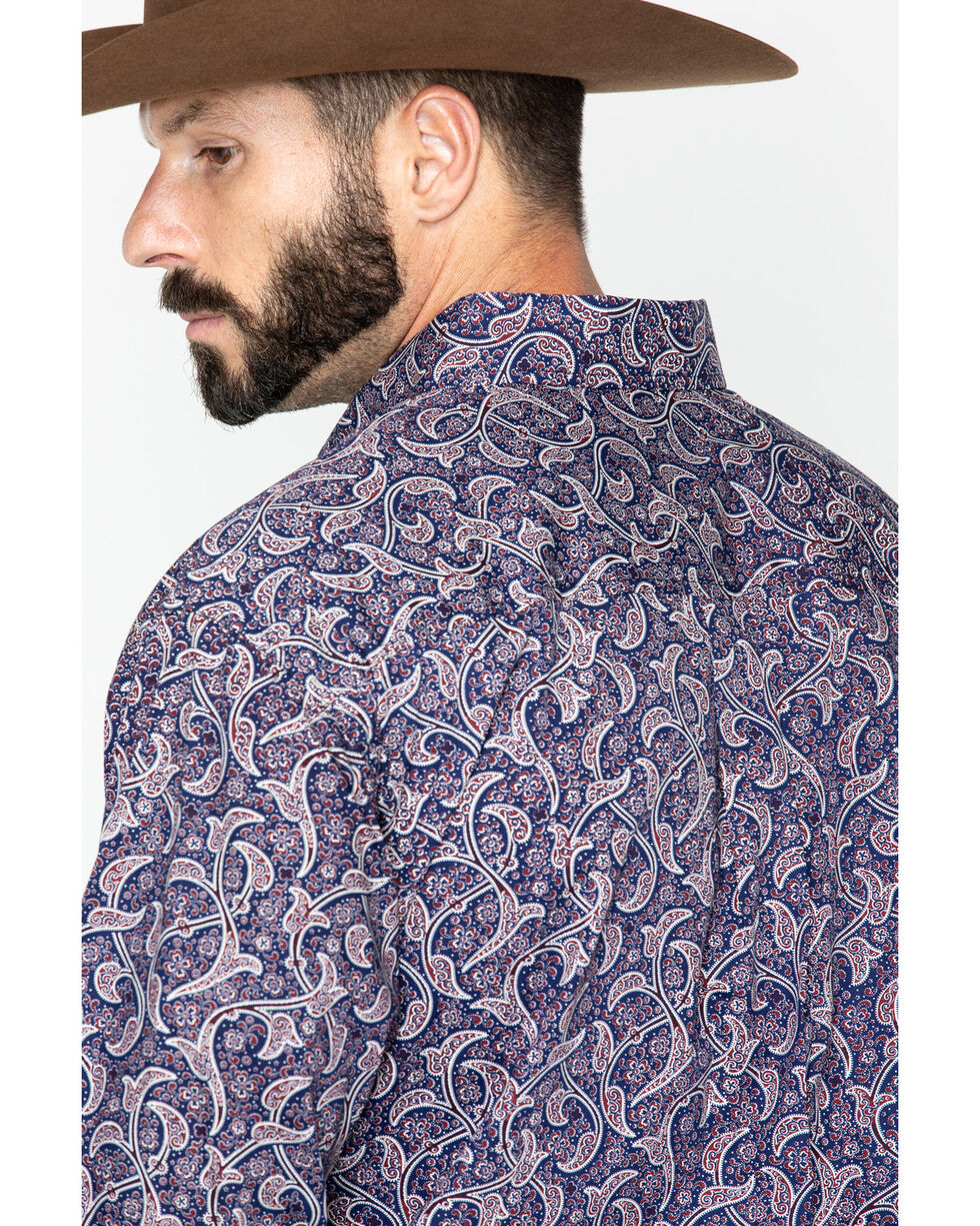Cinch Men's Navy Paisley Long Sleeve Button Down Western Shirt, Navy, hi-res