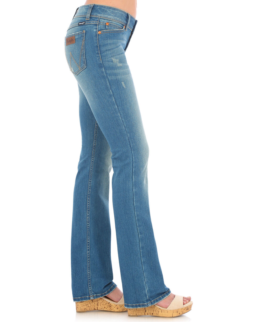 Wrangler Women's Distressed Wash Retro Mae Jeans , Indigo, hi-res