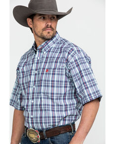 Cinch Men's Light Blue Large Plaid Short Sleeve Western Shirt - Big, Light Blue, hi-res