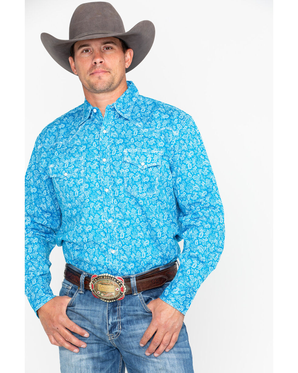 Wrangler 20X Men's Turquoise Paisley Competition Advance Comfort Long Sleeve Western Shirt , Turquoise, hi-res