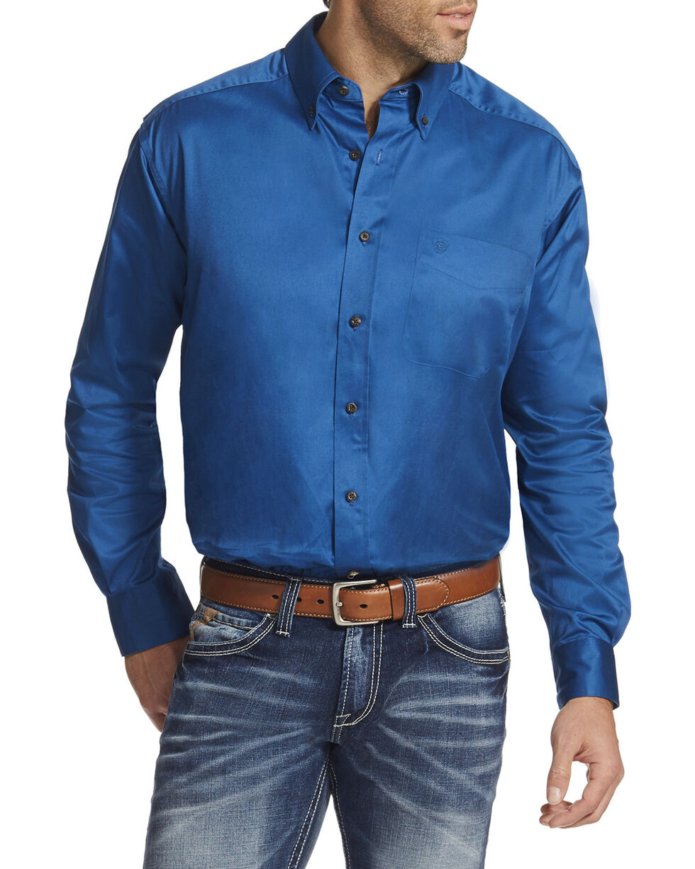 Ariat Men's Blue Solid Twill Button Down Shirt, Blue, hi-res