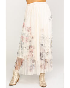 Origami Women's Floral Pleated Mesh Maxi Skirt, Ivory, hi-res