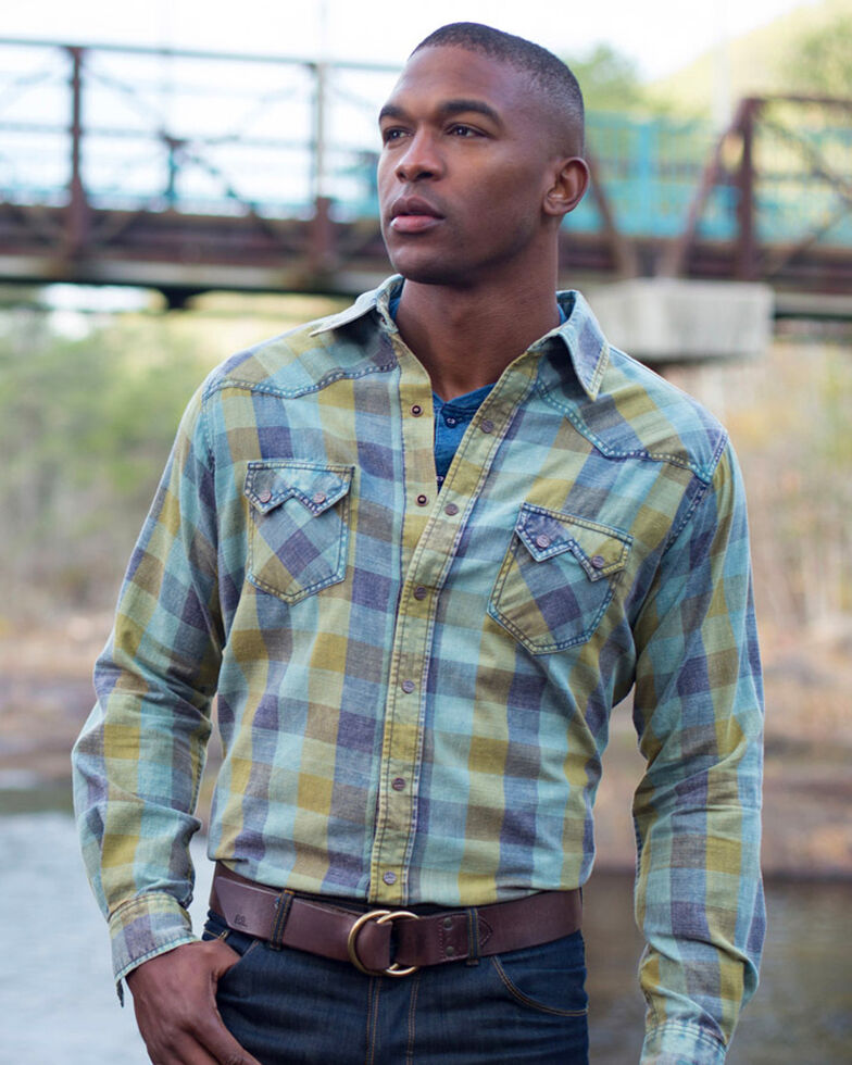 Ryan Michael Men's Green Acid Washed Buffalo Plaid Long Sleeve Western Shirt , Green, hi-res
