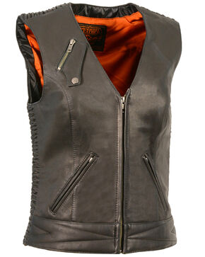 Milwaukee Leather Women's Lightweight Crinkle Snap Front Vest - 3X, Black, hi-res