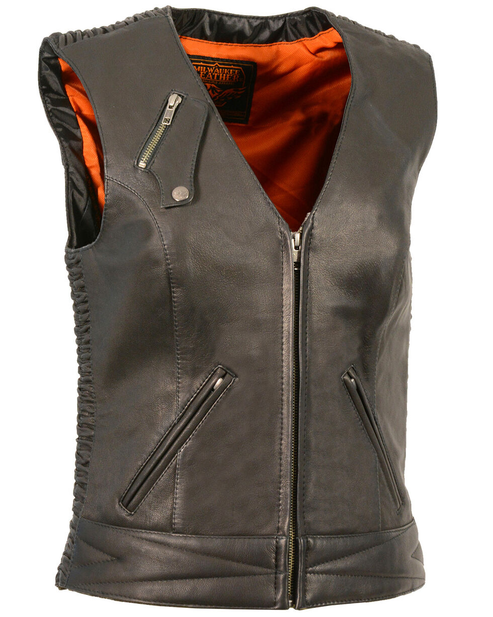Milwaukee Leather Women's Lightweight Crinkle Snap Front Vest - 3X, , hi-res