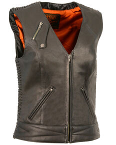 Milwaukee Leather Women's Lightweight Crinkle Snap Front Vest - 5X, Black, hi-res