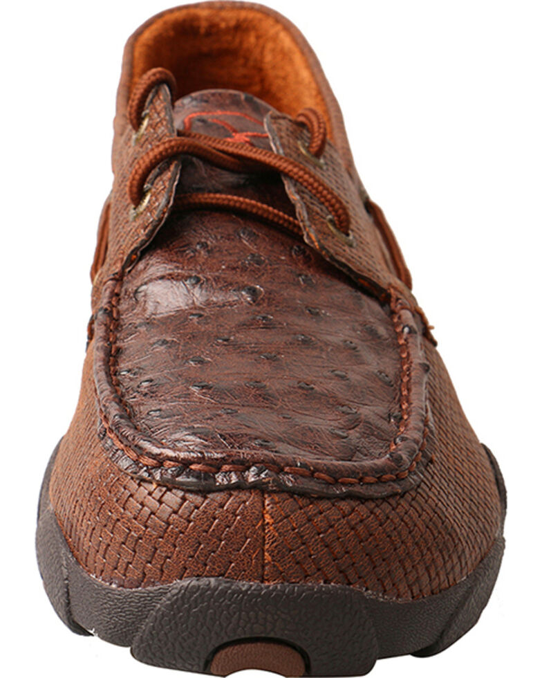 Twisted X Men's Full Quill Ostrich Driving Moc Casual Shoes, Brown, hi-res