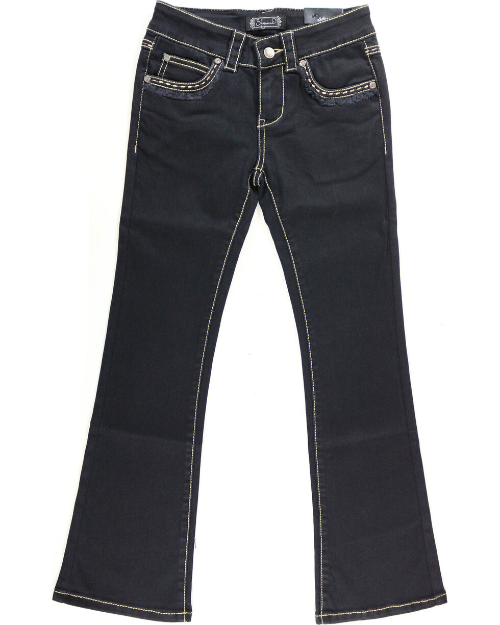 Shyanne Girl's Black Fringe Hem Jeans - Boot Cut, , hi-res