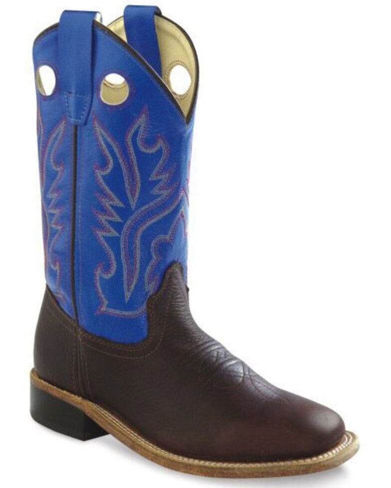 Old West Boys' Blue Shaft Western Boots - Wide Square Toe, Brown, hi-res
